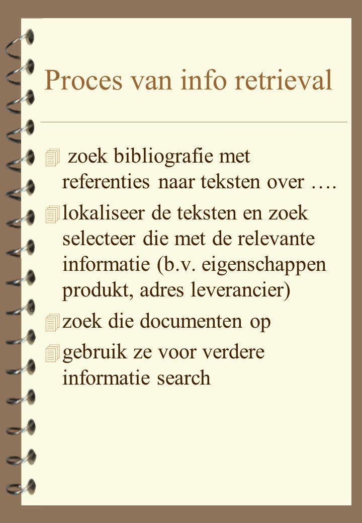 Proces van info retrieval 4 zoek bibliografie met referenties naar teksten over …. 4 lokaliseer de teksten en zoek selecteer die met de relevante info