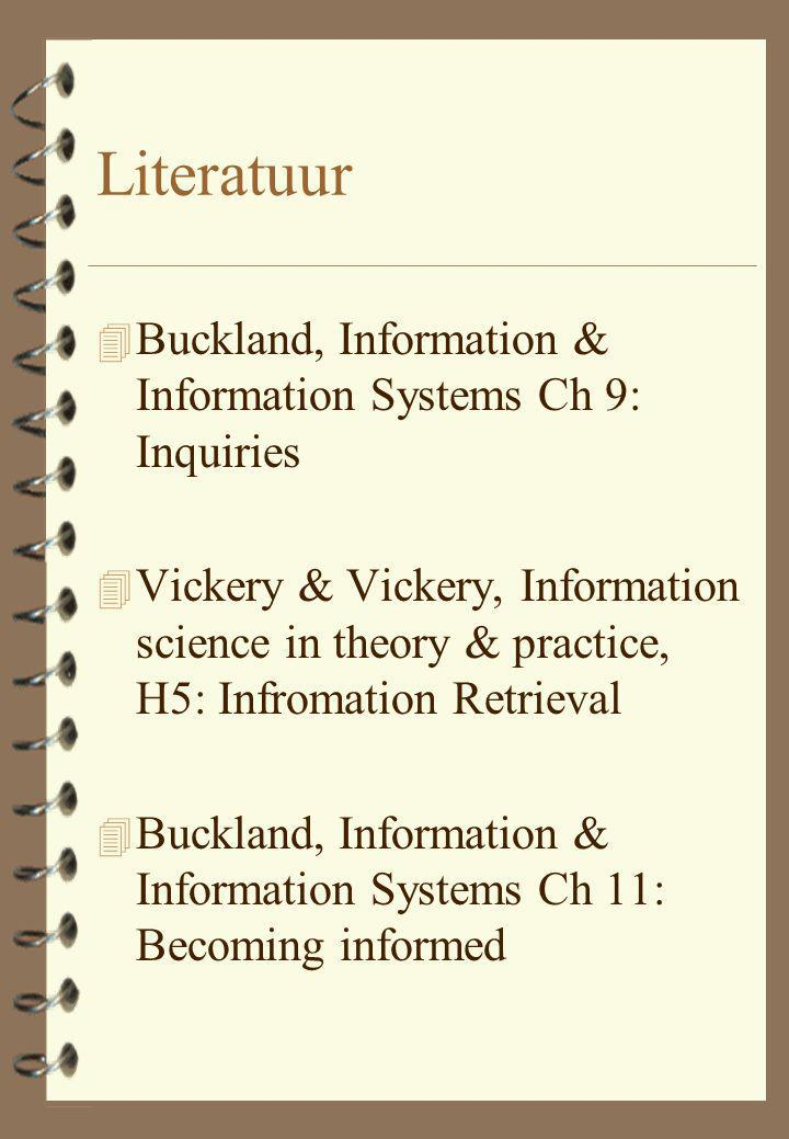 Literatuur 4 Buckland, Information & Information Systems Ch 9: Inquiries 4 Vickery & Vickery, Information science in theory & practice, H5: Infromatio
