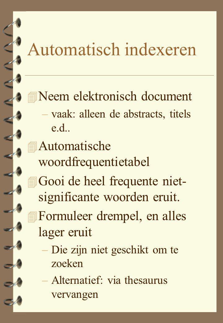 Automatisch indexeren 4 Neem elektronisch document –vaak: alleen de abstracts, titels e.d.. 4 Automatische woordfrequentietabel 4 Gooi de heel frequen