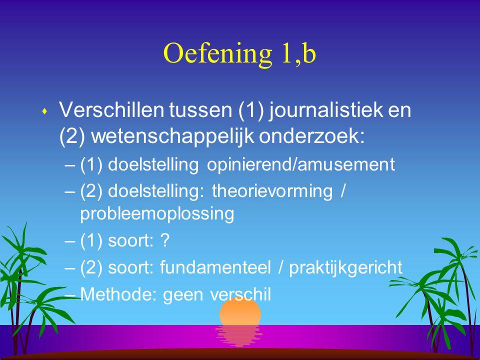 Oefening 1,b s Verschillen tussen (1) journalistiek en (2) wetenschappelijk onderzoek: –(1) doelstelling opinierend/amusement –(2) doelstelling: theorievorming / probleemoplossing –(1) soort: .