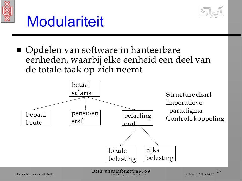 Inleiding Informatica, 2000-2001 College 6, H 6 – sheet nr.
