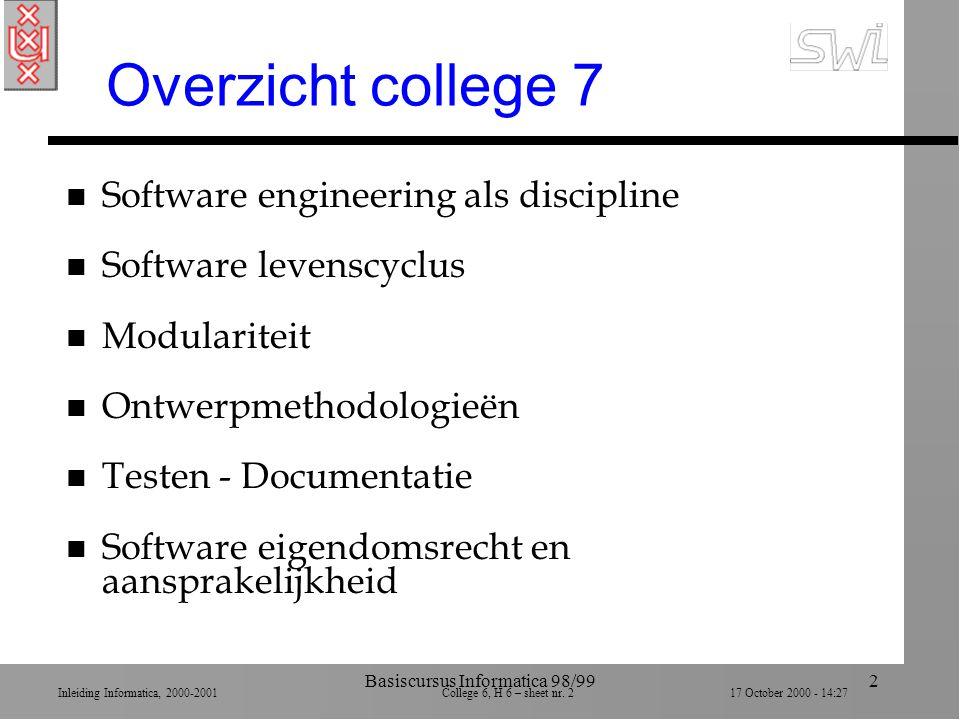 Inleiding Informatica, 2000-2001 College 6, H 6 – sheet nr. 217 October 2000 - 14:27 Basiscursus Informatica 98/992 Overzicht college 7 n Software eng