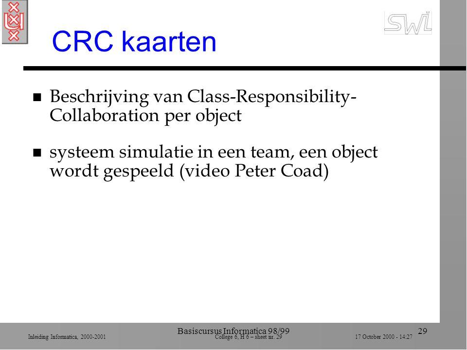 Inleiding Informatica, 2000-2001 College 6, H 6 – sheet nr. 2917 October 2000 - 14:27 Basiscursus Informatica 98/9929 CRC kaarten n Beschrijving van C