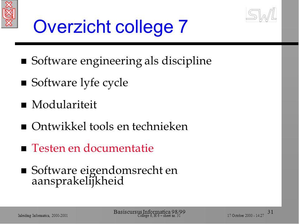 Inleiding Informatica, 2000-2001 College 6, H 6 – sheet nr. 3117 October 2000 - 14:27 Basiscursus Informatica 98/9931 Overzicht college 7 n Software e