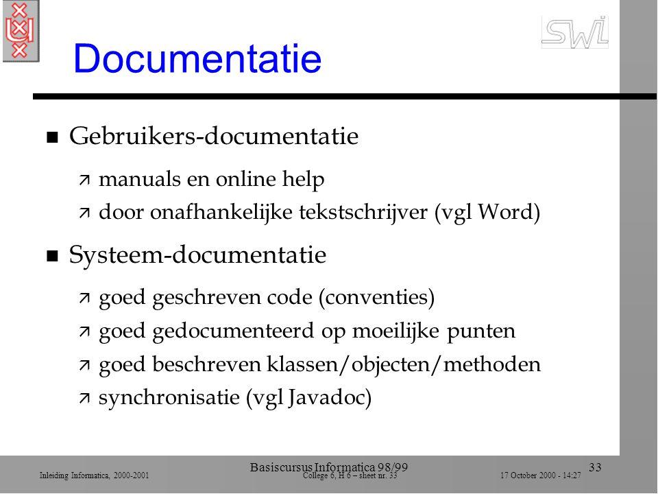 Inleiding Informatica, 2000-2001 College 6, H 6 – sheet nr. 3317 October 2000 - 14:27 Basiscursus Informatica 98/9933 Documentatie n Gebruikers-docume