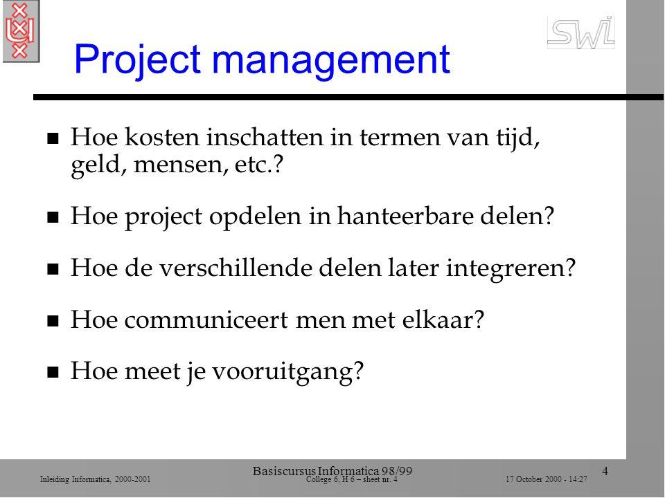 Inleiding Informatica, 2000-2001 College 6, H 6 – sheet nr. 417 October 2000 - 14:27 Basiscursus Informatica 98/994 Project management n Hoe kosten in