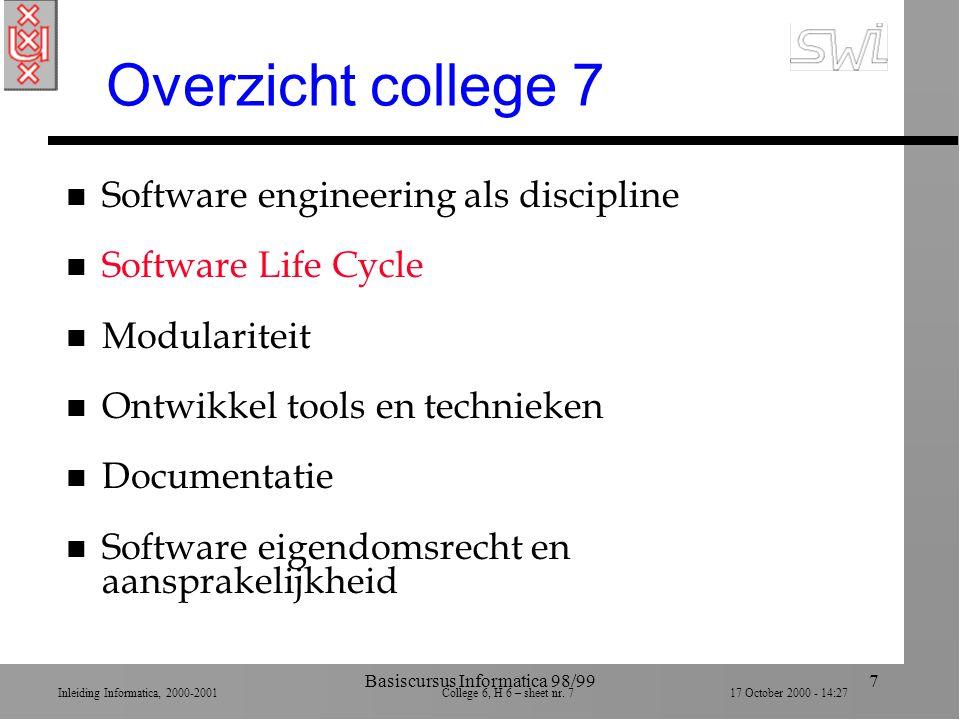 Inleiding Informatica, 2000-2001 College 6, H 6 – sheet nr. 717 October 2000 - 14:27 Basiscursus Informatica 98/997 Overzicht college 7 n Software eng