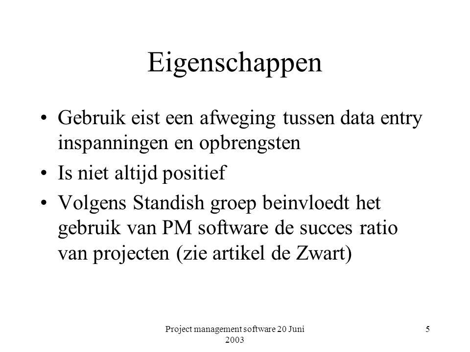 Project management software 20 Juni 2003 5 Eigenschappen Gebruik eist een afweging tussen data entry inspanningen en opbrengsten Is niet altijd positief Volgens Standish groep beinvloedt het gebruik van PM software de succes ratio van projecten (zie artikel de Zwart)