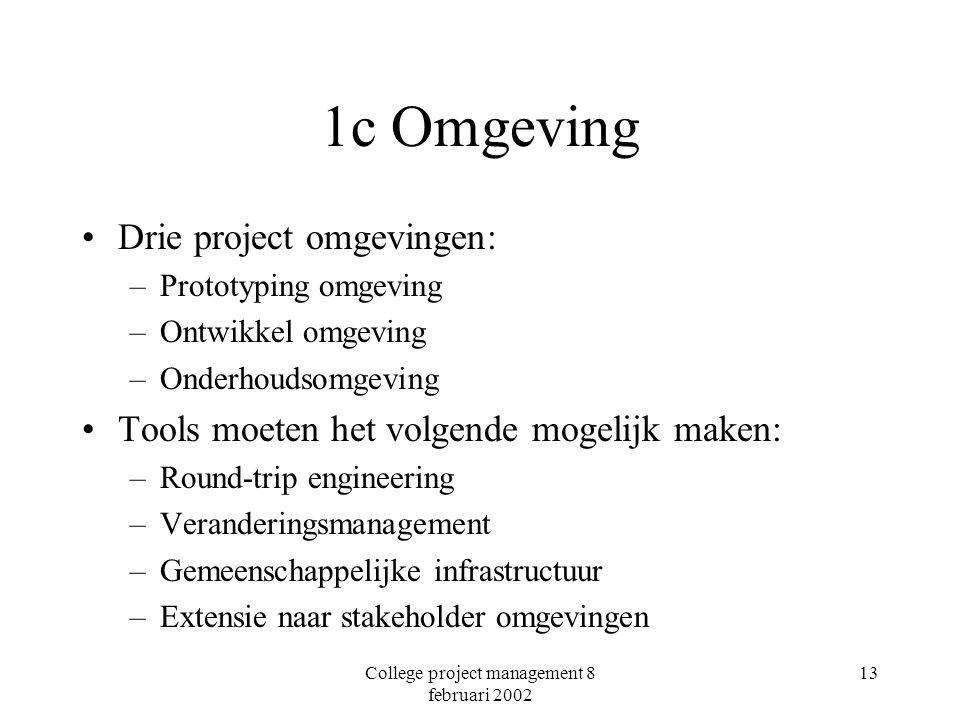 College project management 8 februari 2002 13 1c Omgeving Drie project omgevingen: –Prototyping omgeving –Ontwikkel omgeving –Onderhoudsomgeving Tools