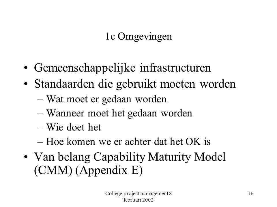 College project management 8 februari 2002 16 1c Omgevingen Gemeenschappelijke infrastructuren Standaarden die gebruikt moeten worden –Wat moet er gedaan worden –Wanneer moet het gedaan worden –Wie doet het –Hoe komen we er achter dat het OK is Van belang Capability Maturity Model (CMM) (Appendix E)