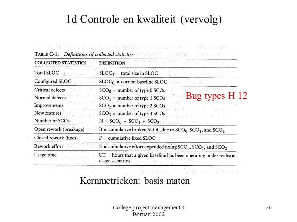 College project management 8 februari 2002 26 1d Controle en kwaliteit (vervolg) Kwaliteits indicatoren: lees ook Appendix C Kernmetrieken: basis maten Bug types H 12