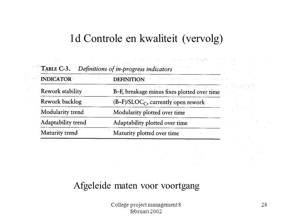 College project management 8 februari 2002 28 1d Controle en kwaliteit (vervolg) Afgeleide maten voor voortgang