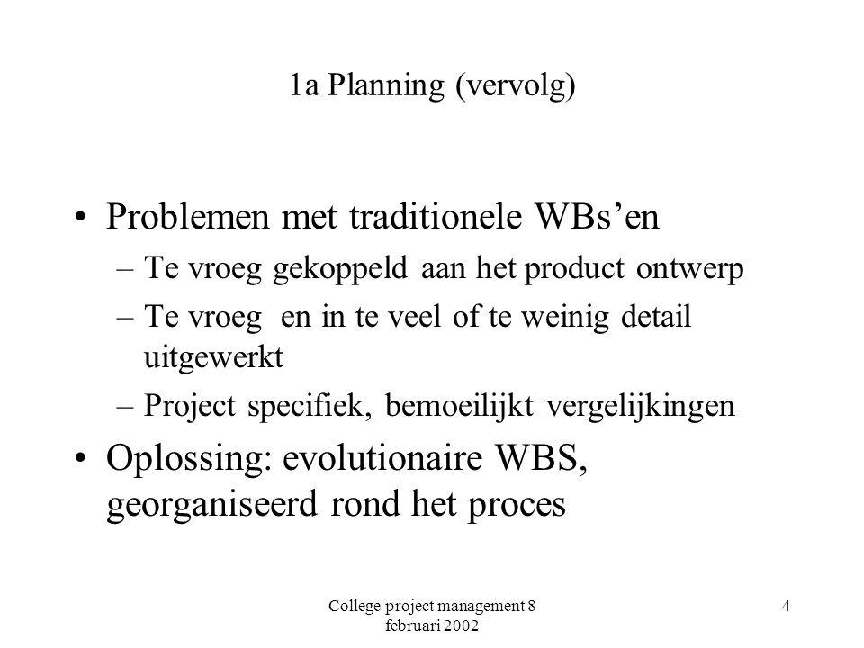 College project management 8 februari 2002 4 1a Planning (vervolg) Problemen met traditionele WBs'en –Te vroeg gekoppeld aan het product ontwerp –Te vroeg en in te veel of te weinig detail uitgewerkt –Project specifiek, bemoeilijkt vergelijkingen Oplossing: evolutionaire WBS, georganiseerd rond het proces