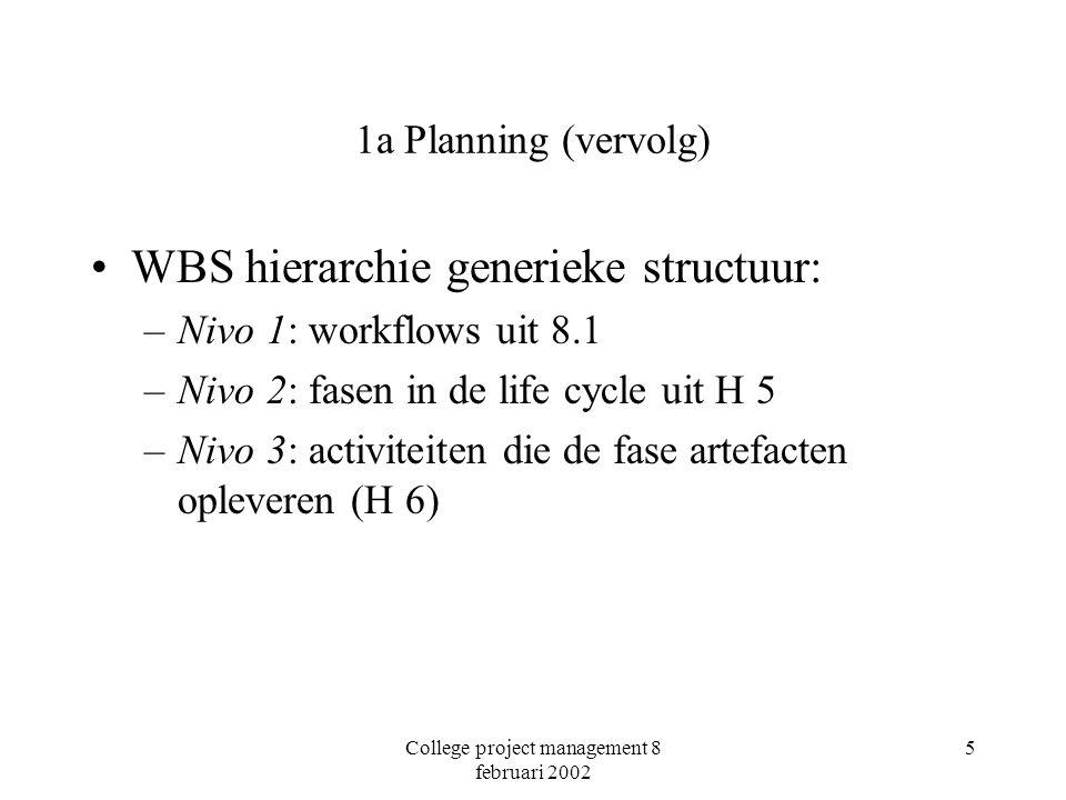 College project management 8 februari 2002 5 1a Planning (vervolg) WBS hierarchie generieke structuur: –Nivo 1: workflows uit 8.1 –Nivo 2: fasen in de life cycle uit H 5 –Nivo 3: activiteiten die de fase artefacten opleveren (H 6)