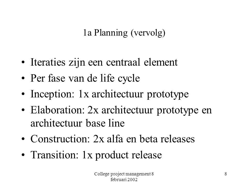 College project management 8 februari 2002 8 1a Planning (vervolg) Iteraties zijn een centraal element Per fase van de life cycle Inception: 1x archit