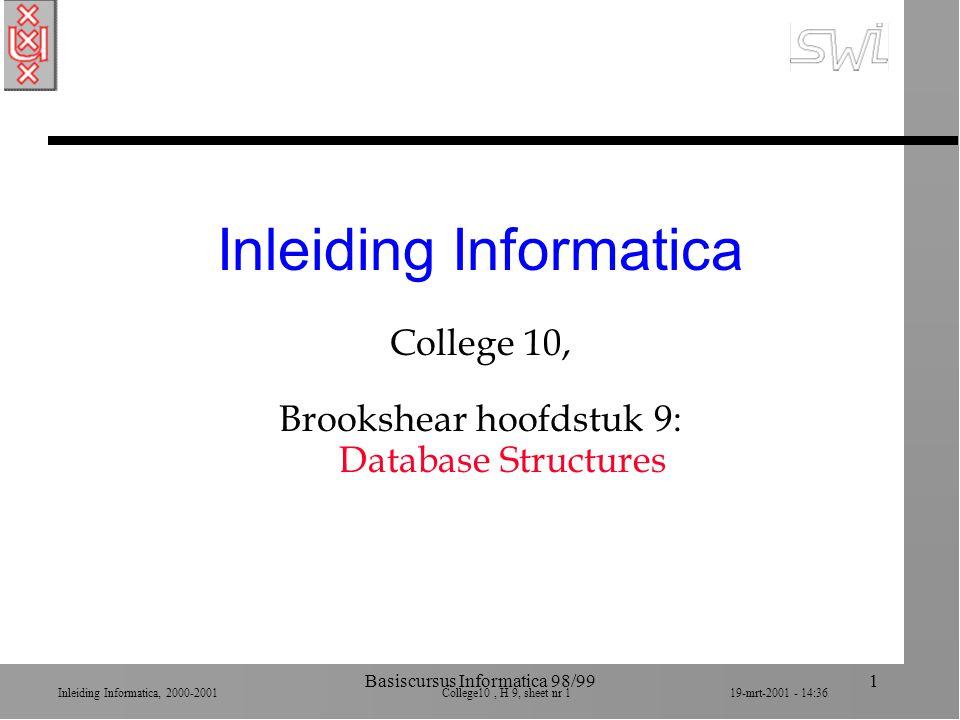 Inleiding Informatica, 2000-2001 College10, H 9, sheet nr 3219-mrt-2001 - 14:36 Basiscursus Informatica 98/9932 JOIN n Join van 2 relaties ä nieuwe relatie wiens attributen/kolommen de combinatie is van oorspronkelijke n Naam van kolom: prefix van oorspronkelijke relatie ä garandeert unieke namen n Tuples/rijen van nieuwe relatie is de concatenatie n Join is vaak conditioneel ä C JOIN A and B where A.W = B.X
