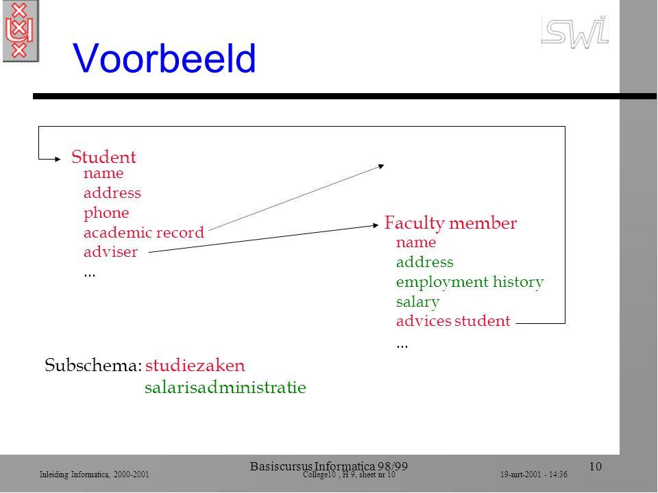 Inleiding Informatica, 2000-2001 College10, H 9, sheet nr 1019-mrt-2001 - 14:36 Basiscursus Informatica 98/9910 Voorbeeld name address phone academic record adviser...