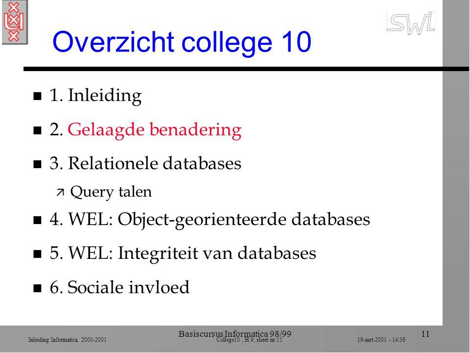 Inleiding Informatica, 2000-2001 College10, H 9, sheet nr 1119-mrt-2001 - 14:36 Basiscursus Informatica 98/9911 Overzicht college 10 n 1. Inleiding n