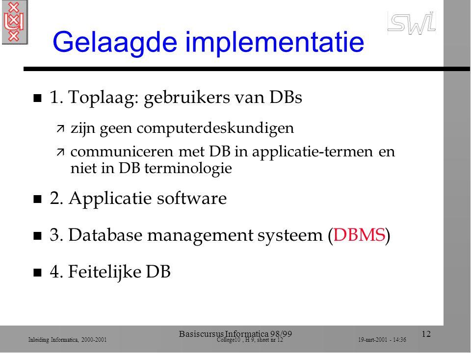 Inleiding Informatica, 2000-2001 College10, H 9, sheet nr 1219-mrt-2001 - 14:36 Basiscursus Informatica 98/9912 Gelaagde implementatie n 1. Toplaag: g