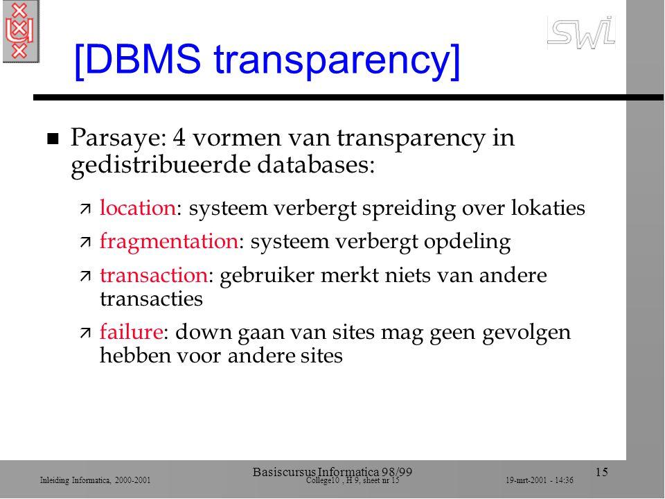 Inleiding Informatica, 2000-2001 College10, H 9, sheet nr 1519-mrt-2001 - 14:36 Basiscursus Informatica 98/9915 [DBMS transparency] n Parsaye: 4 vorme