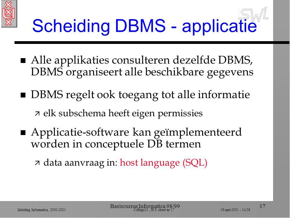 Inleiding Informatica, 2000-2001 College10, H 9, sheet nr 1719-mrt-2001 - 14:36 Basiscursus Informatica 98/9917 Scheiding DBMS - applicatie n Alle app