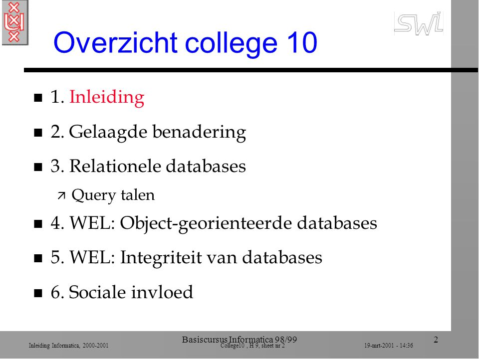 Inleiding Informatica, 2000-2001 College10, H 9, sheet nr 1319-mrt-2001 - 14:36 Basiscursus Informatica 98/9913 Lagen in DB End user Application software Database management system Actual database Data seen in terms of the application Data seen in terms of a database model Data seen in its actual organization