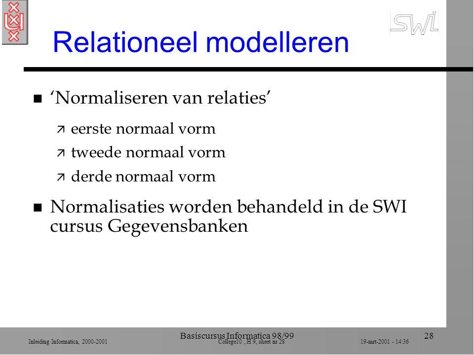 Inleiding Informatica, 2000-2001 College10, H 9, sheet nr 2819-mrt-2001 - 14:36 Basiscursus Informatica 98/9928 Relationeel modelleren n 'Normaliseren