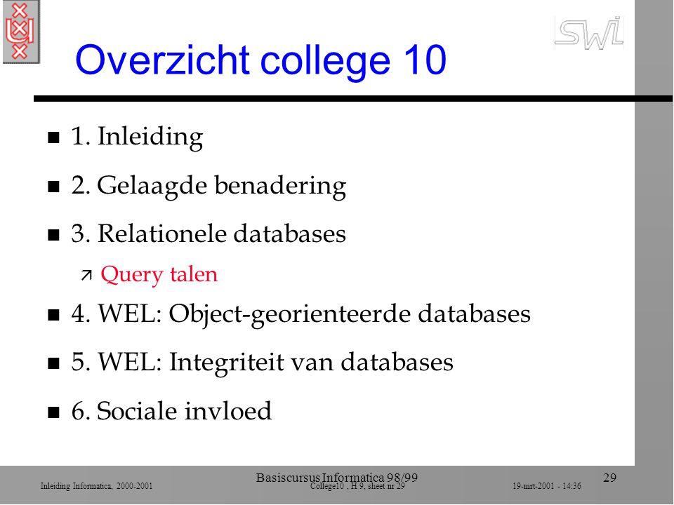 Inleiding Informatica, 2000-2001 College10, H 9, sheet nr 2919-mrt-2001 - 14:36 Basiscursus Informatica 98/9929 Overzicht college 10 n 1. Inleiding n