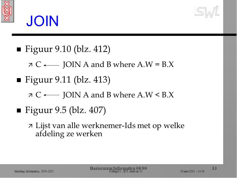 Inleiding Informatica, 2000-2001 College10, H 9, sheet nr 3319-mrt-2001 - 14:36 Basiscursus Informatica 98/9933 JOIN n Figuur 9.10 (blz. 412) ä C JOIN
