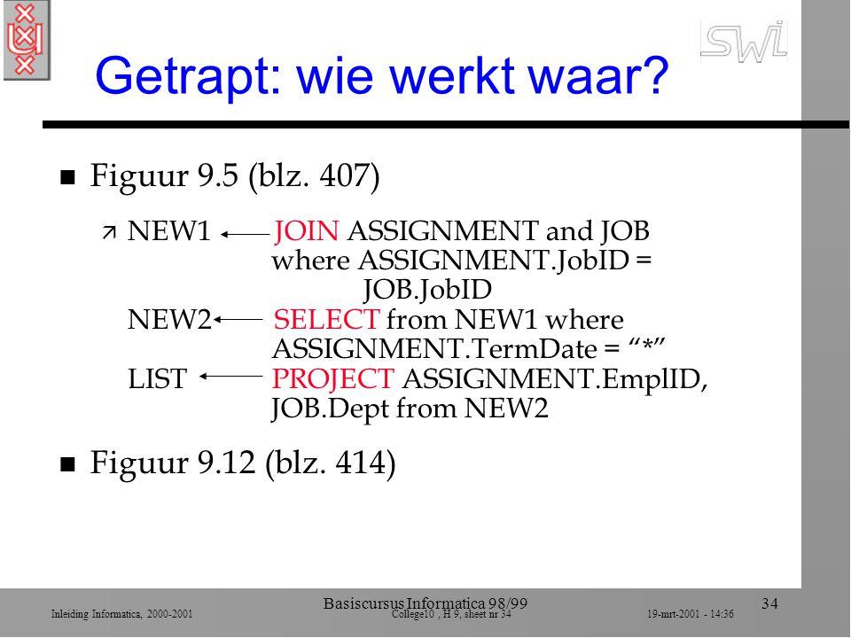 Inleiding Informatica, 2000-2001 College10, H 9, sheet nr 3419-mrt-2001 - 14:36 Basiscursus Informatica 98/9934 Getrapt: wie werkt waar? n Figuur 9.5