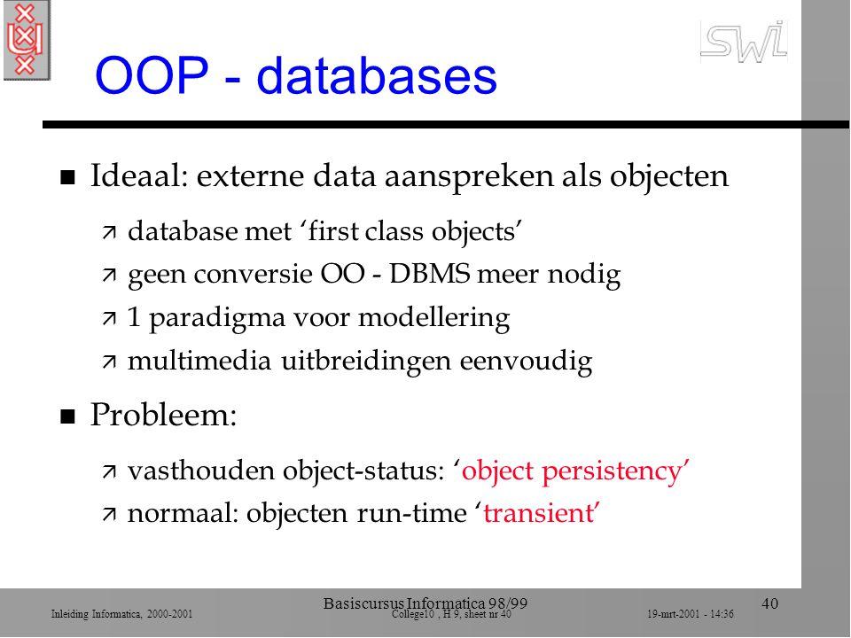 Inleiding Informatica, 2000-2001 College10, H 9, sheet nr 4019-mrt-2001 - 14:36 Basiscursus Informatica 98/9940 OOP - databases n Ideaal: externe data