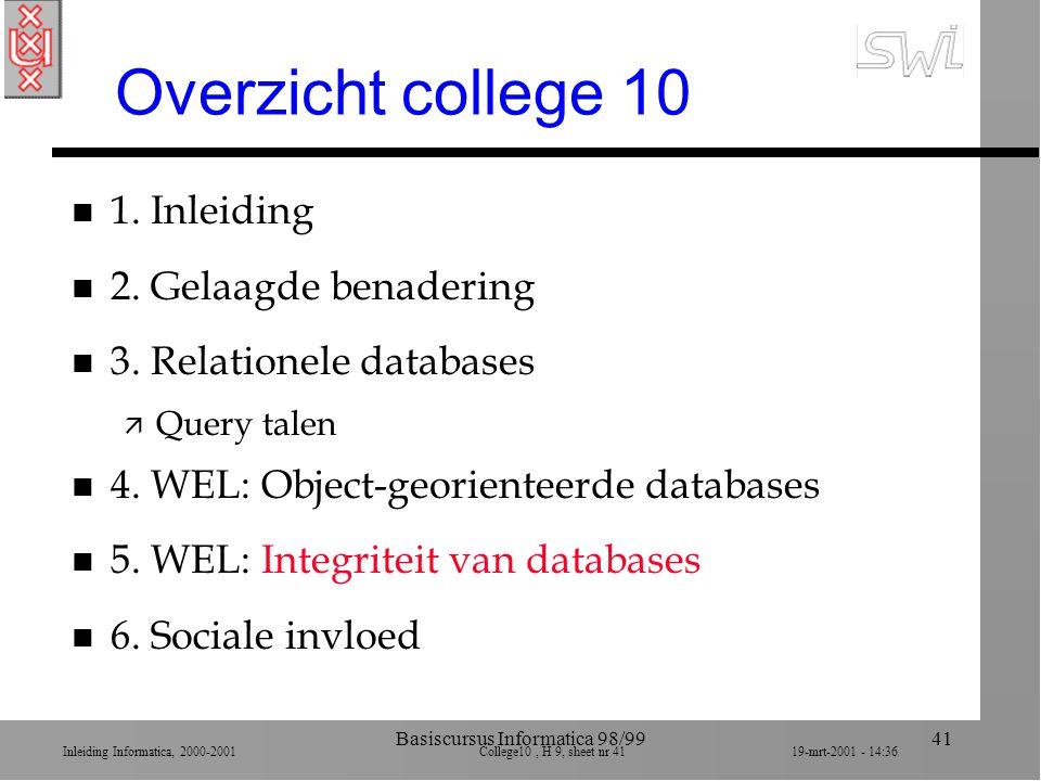 Inleiding Informatica, 2000-2001 College10, H 9, sheet nr 4119-mrt-2001 - 14:36 Basiscursus Informatica 98/9941 Overzicht college 10 n 1. Inleiding n