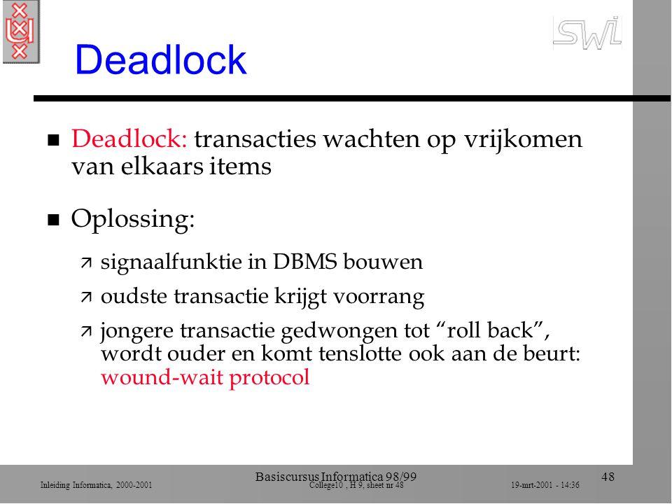 Inleiding Informatica, 2000-2001 College10, H 9, sheet nr 4819-mrt-2001 - 14:36 Basiscursus Informatica 98/9948 Deadlock n Deadlock: transacties wacht