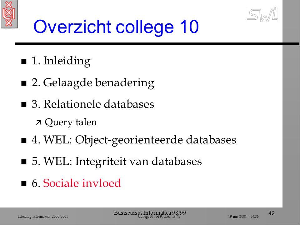 Inleiding Informatica, 2000-2001 College10, H 9, sheet nr 4919-mrt-2001 - 14:36 Basiscursus Informatica 98/9949 Overzicht college 10 n 1. Inleiding n