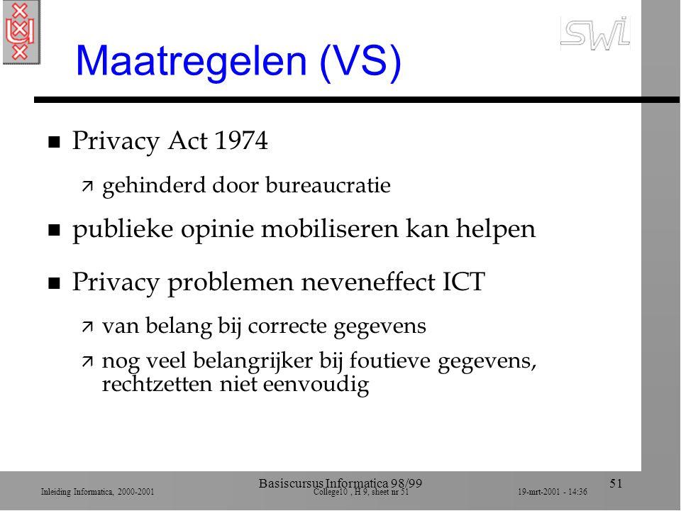 Inleiding Informatica, 2000-2001 College10, H 9, sheet nr 5119-mrt-2001 - 14:36 Basiscursus Informatica 98/9951 Maatregelen (VS) n Privacy Act 1974 ä