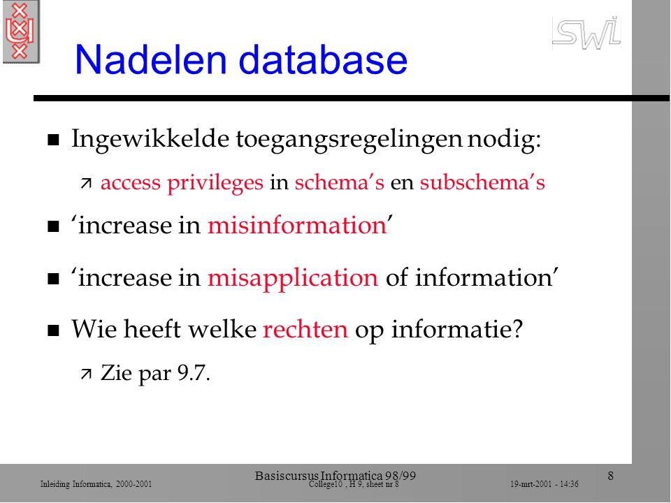 Inleiding Informatica, 2000-2001 College10, H 9, sheet nr 819-mrt-2001 - 14:36 Basiscursus Informatica 98/998 Nadelen database n Ingewikkelde toegangs