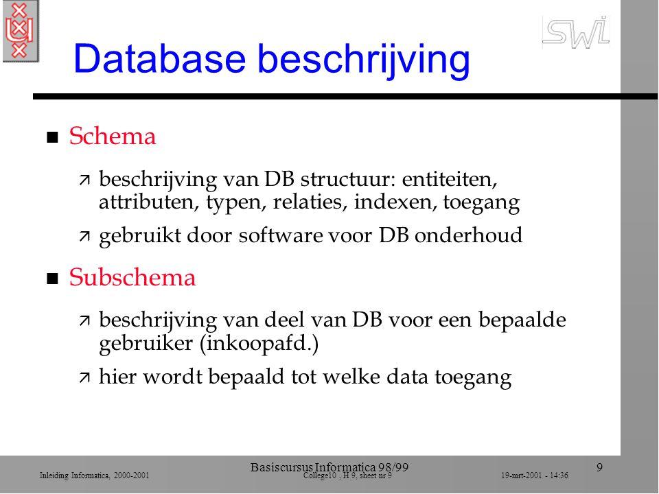 Inleiding Informatica, 2000-2001 College10, H 9, sheet nr 2019-mrt-2001 - 14:36 Basiscursus Informatica 98/9920 Relationele DBs n Conceptuele structuur van een DB n Waarom relationele DBs.