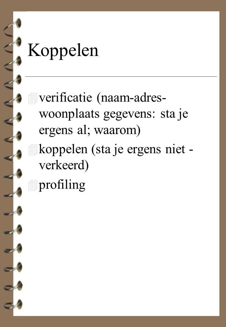 Koppelen 4 verificatie (naam-adres- woonplaats gegevens: sta je ergens al; waarom) 4 koppelen (sta je ergens niet - verkeerd) 4 profiling