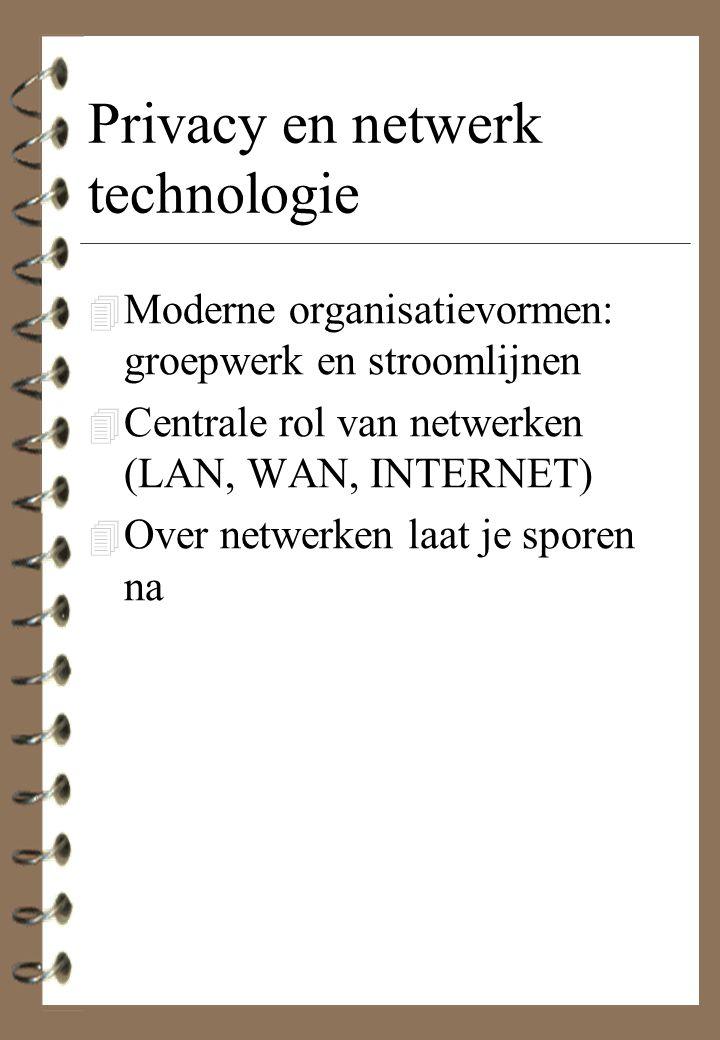 Privacy en netwerk technologie 4 Moderne organisatievormen: groepwerk en stroomlijnen 4 Centrale rol van netwerken (LAN, WAN, INTERNET) 4 Over netwerk