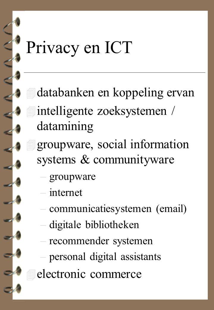 Privacy en ICT 4 databanken en koppeling ervan 4 intelligente zoeksystemen / datamining 4 groupware, social information systems & communityware –group