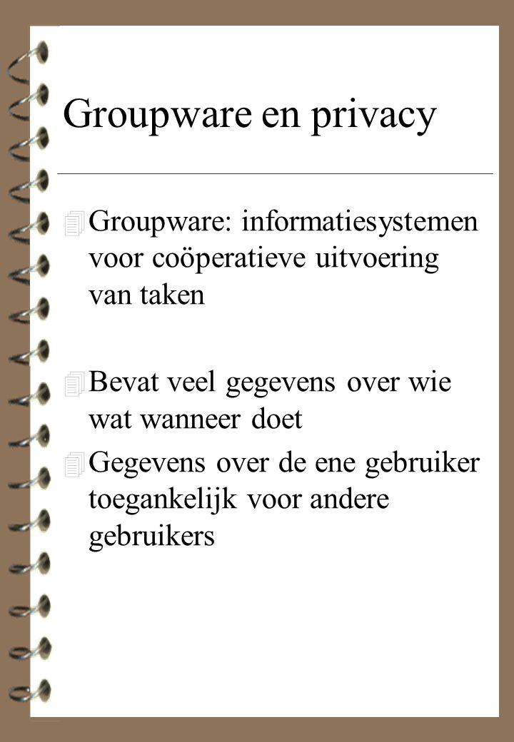 Groupware en privacy 4 Groupware: informatiesystemen voor coöperatieve uitvoering van taken 4 Bevat veel gegevens over wie wat wanneer doet 4 Gegevens