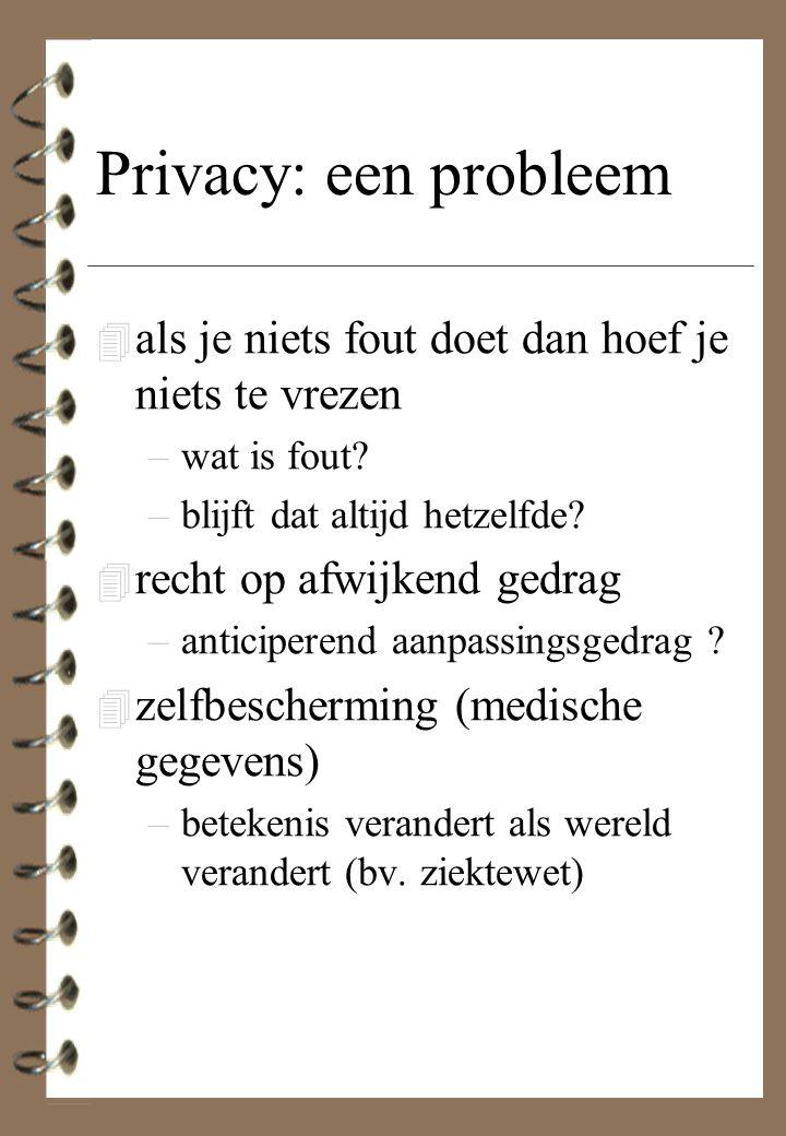 Privacy: een probleem 4 als je niets fout doet dan hoef je niets te vrezen –wat is fout? –blijft dat altijd hetzelfde? 4 recht op afwijkend gedrag –an