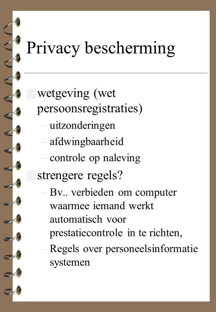 Privacy bescherming 4 wetgeving (wet persoonsregistraties) –uitzonderingen –afdwingbaarheid –controle op naleving 4 strengere regels? –Bv.. verbieden