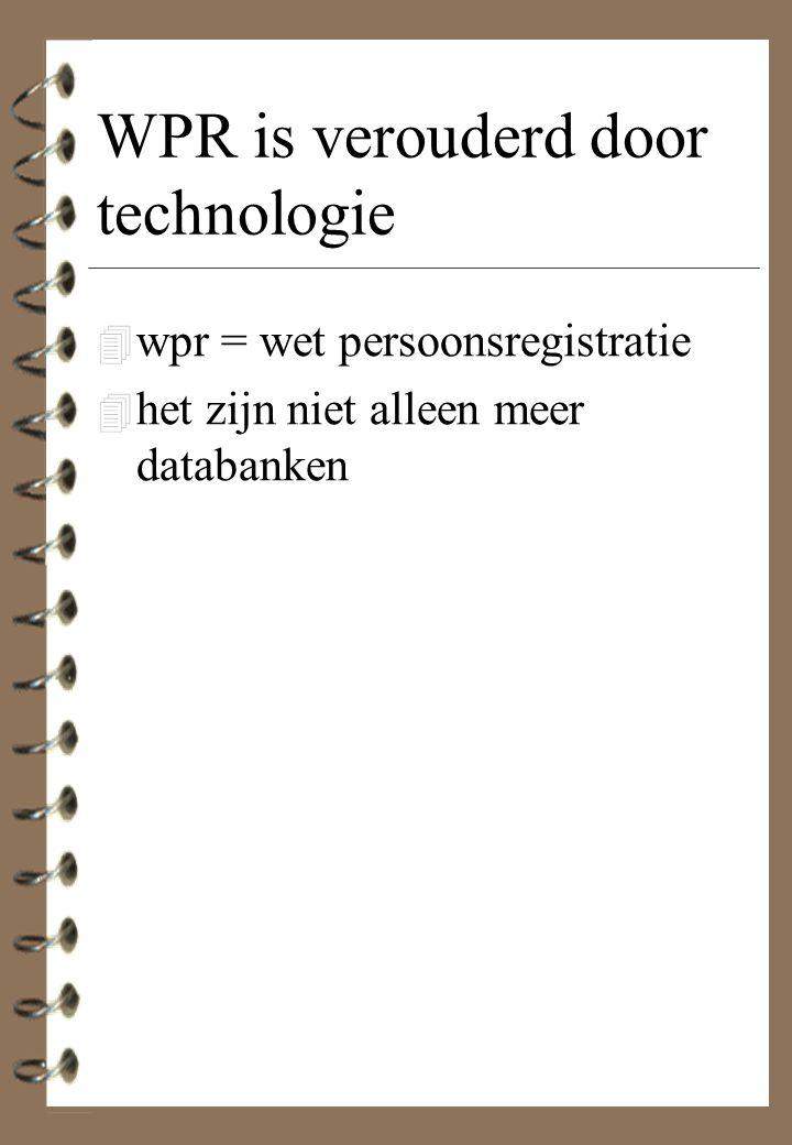 WPR is verouderd door technologie 4 wpr = wet persoonsregistratie 4 het zijn niet alleen meer databanken