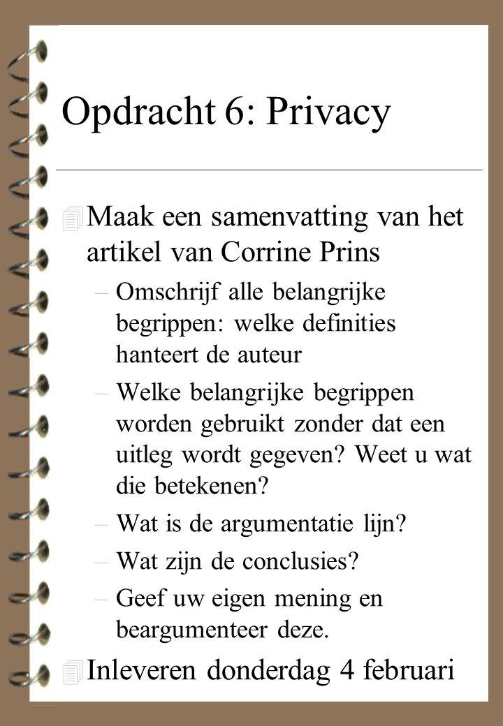 Opdracht 6: Privacy 4 Maak een samenvatting van het artikel van Corrine Prins –Omschrijf alle belangrijke begrippen: welke definities hanteert de aute