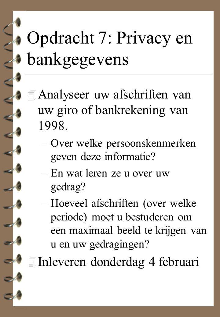 Opdracht 7: Privacy en bankgegevens 4 Analyseer uw afschriften van uw giro of bankrekening van 1998. –Over welke persoonskenmerken geven deze informat