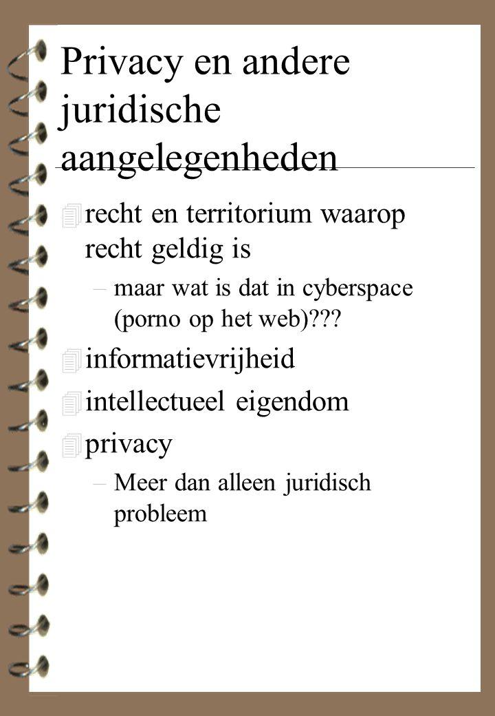 Privacy en andere juridische aangelegenheden 4 recht en territorium waarop recht geldig is –maar wat is dat in cyberspace (porno op het web)??? 4 info
