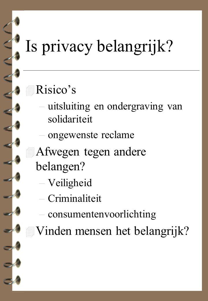 Is privacy belangrijk? 4 Risico's –uitsluiting en ondergraving van solidariteit –ongewenste reclame 4 Afwegen tegen andere belangen? –Veiligheid –Crim
