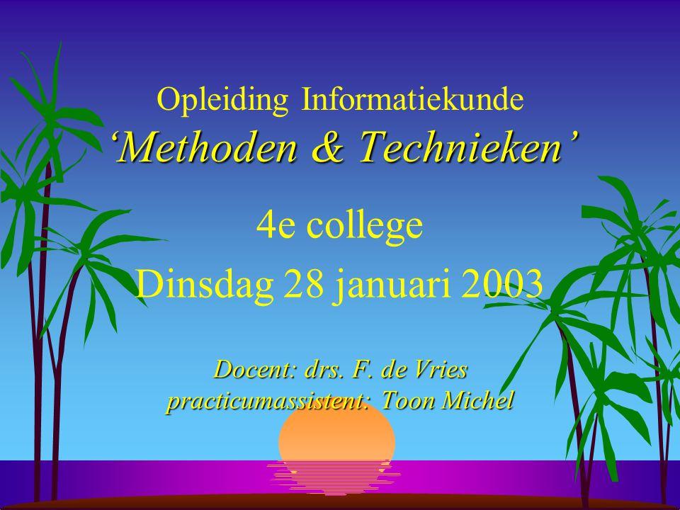 'Methoden & Technieken' Opleiding Informatiekunde 'Methoden & Technieken' 4e college Dinsdag 28 januari 2003 Docent: drs.