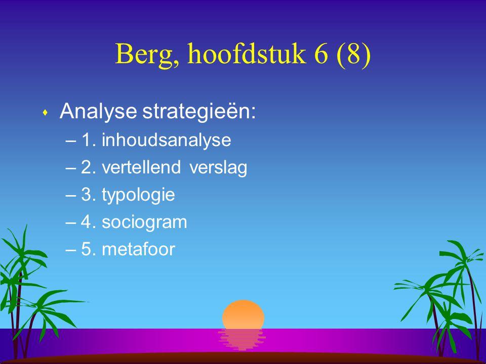 Berg, hoofdstuk 6 (8) s Analyse strategieën: –1. inhoudsanalyse –2.